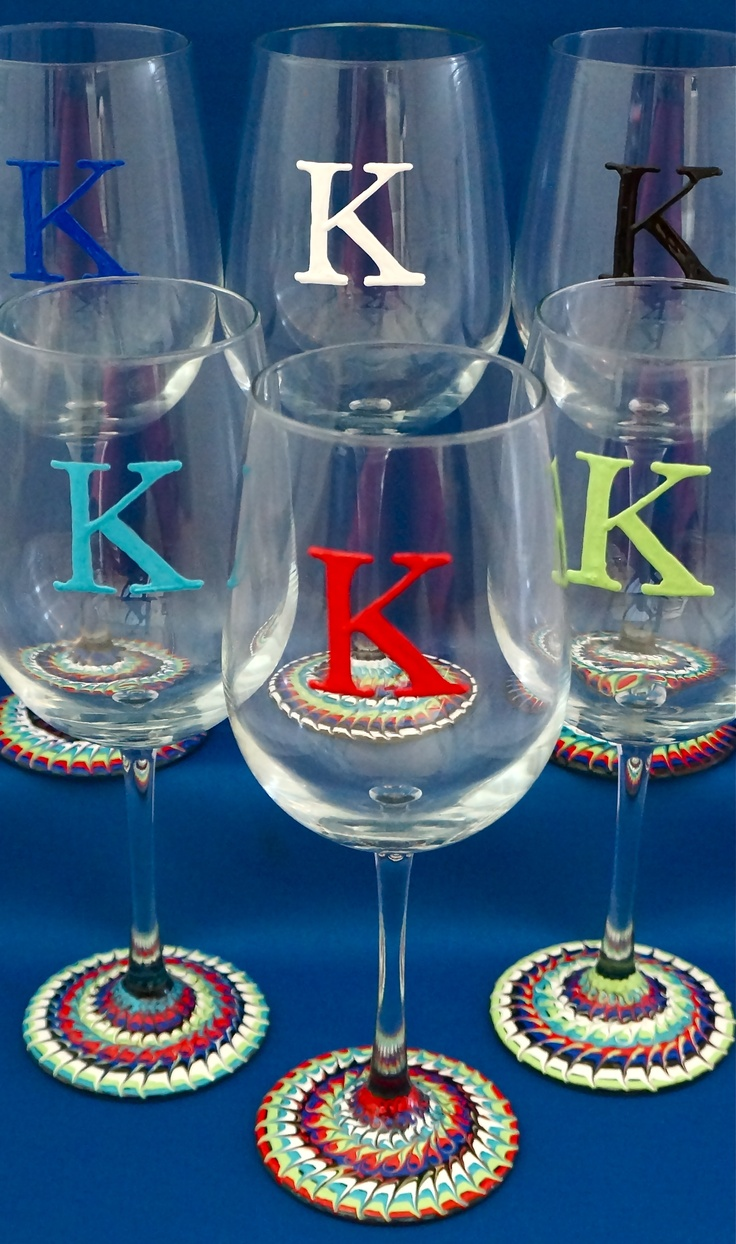 17 best images about glass ideas on pinterest initials for Painted wine glasses with initials