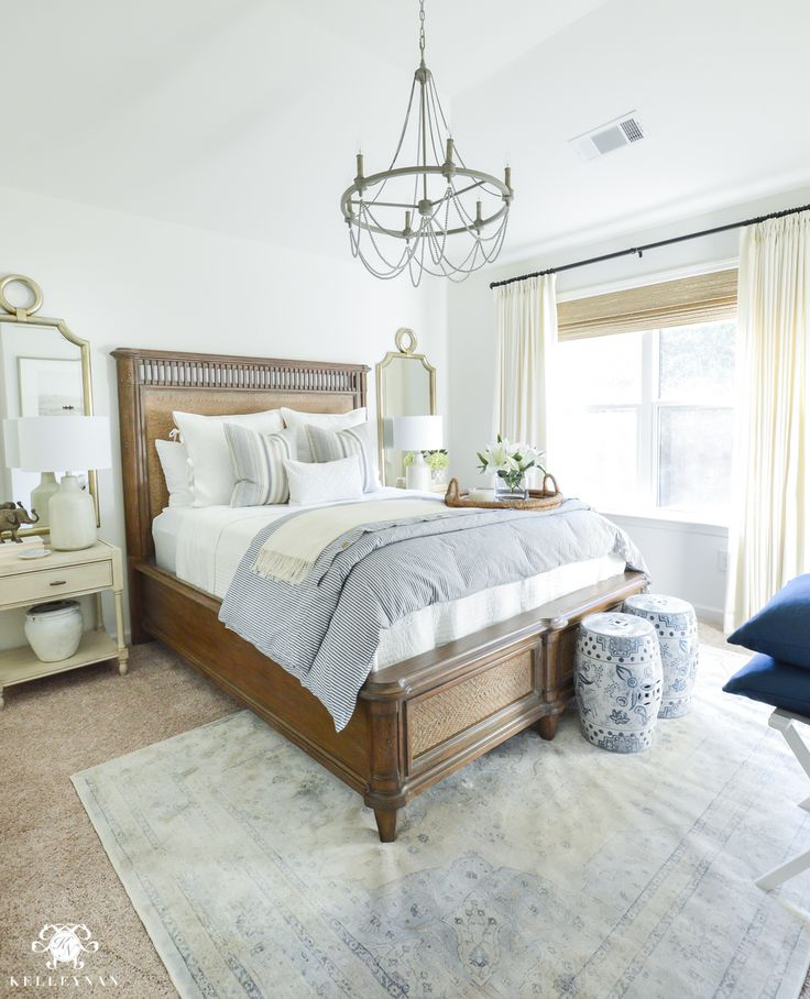 One Room Challenge Blue And White Guest Bedroom Reveal Before And After Makeover Guest Bedroom