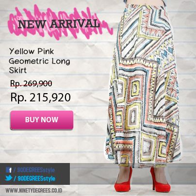 New Arrival!! Yellow Pink Geometric Long Skirt now available on webstore www.ninetydegrees.co.id
