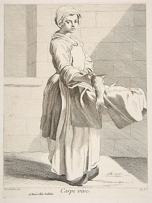 Fishmonger, Anne Claude de Tubieres, after Edme Bouchardon, etching with some engraving, 1738.
