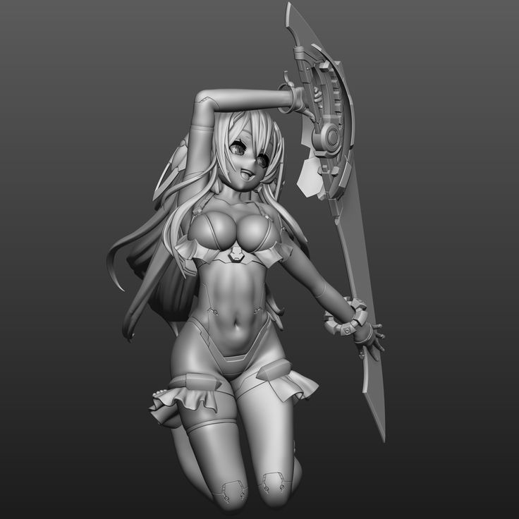 3d sword anime girl