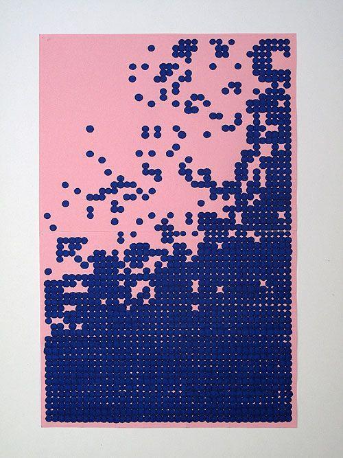CORINNE LAROCHE - Points de vue - rose - 21/12/2008, 2008 Tinte auf Löschpapier, 30 x 21 cm