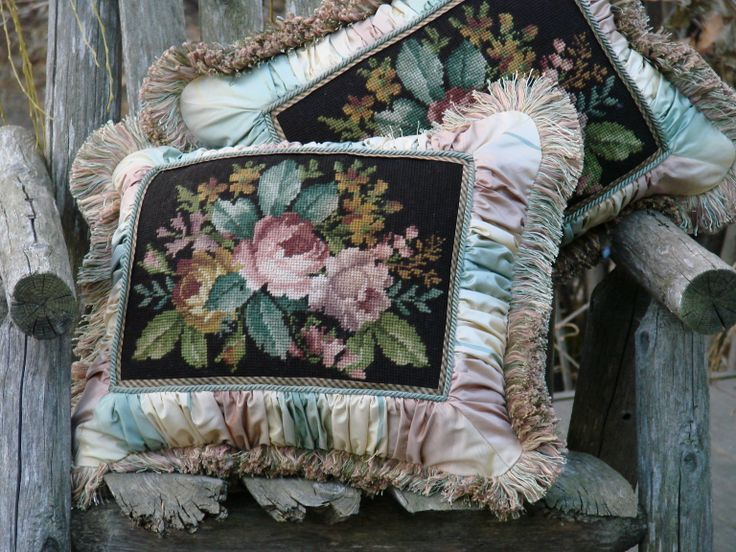 Vintage needlepoint pillow made from a 50s handbag needlepoint