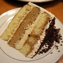 Tiramisu Layer Cake- modifications of 2 layers coffee cake, extra coffee and kahlua