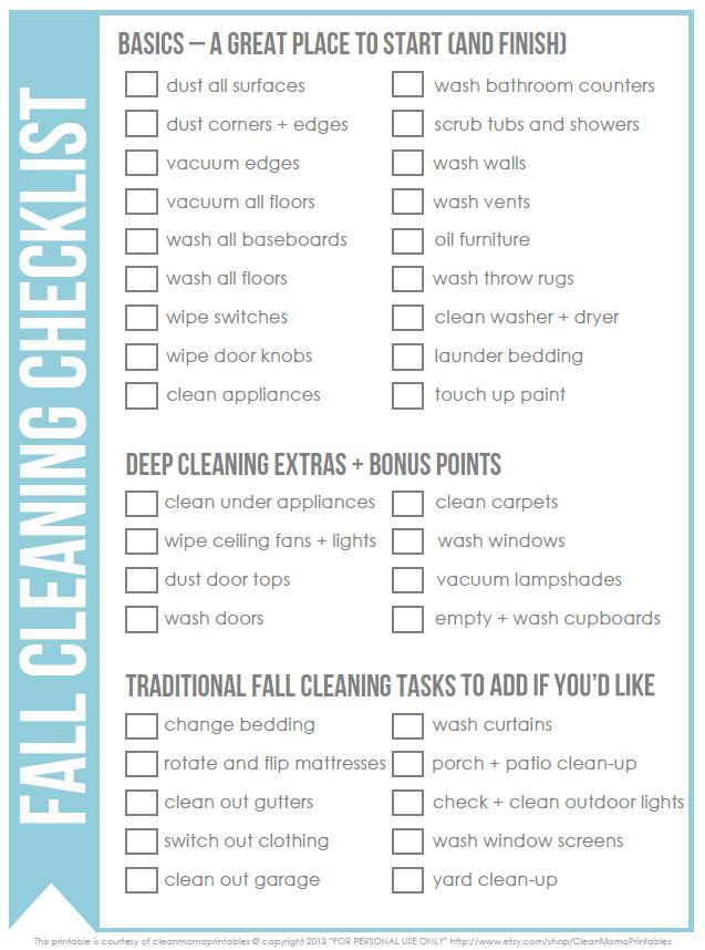 Need to tackle a little fall cleaning?  Try this fall cleaning checklist to keep you on track via Clean Mama