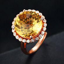Lindo ronda citrino anillos de compromiso de boda para las mujeres s925 plata femenina anillo de dedo de las señoras de la joyería fina(China (Mainland))