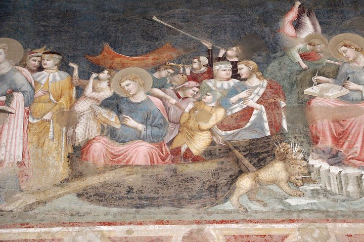 Pietro da rimini, resurrezione di drusiana e s. giovanni a patmos, xiv sec. Chiesa S. Agostino.