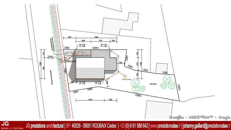 Jg dessin architectural plan masse pour permis de for Plan de masse maison individuelle
