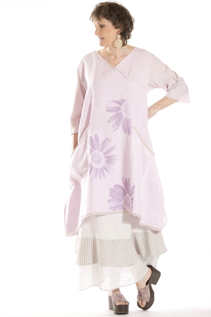 Euphoria lace trimmed linen tunic printed blue fish for Blue fish clothing