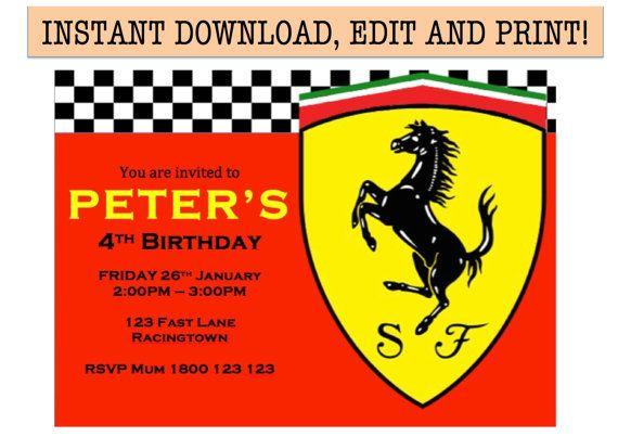 Ferrari Birthday Party Invitation Instant Pdf By