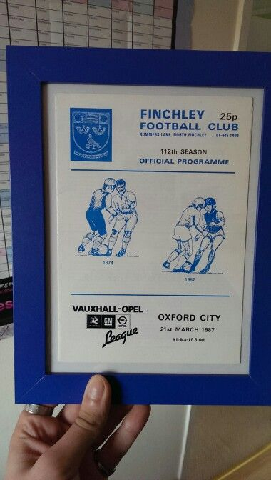 Match program vs Oxford City 1987