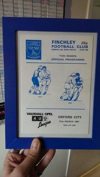 Match program vs Oxford City 1987