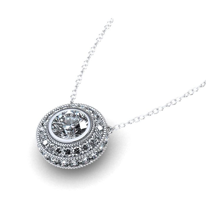 Halo Necklace | ctw Bezel Set Diamond Halo Necklace in Palladium