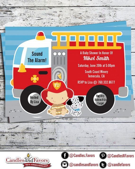 Future Firefighter - Baby Shower Invitation Professionally printed *or* DIY printable PDF Hispanic, African American, Asian, Caucasian