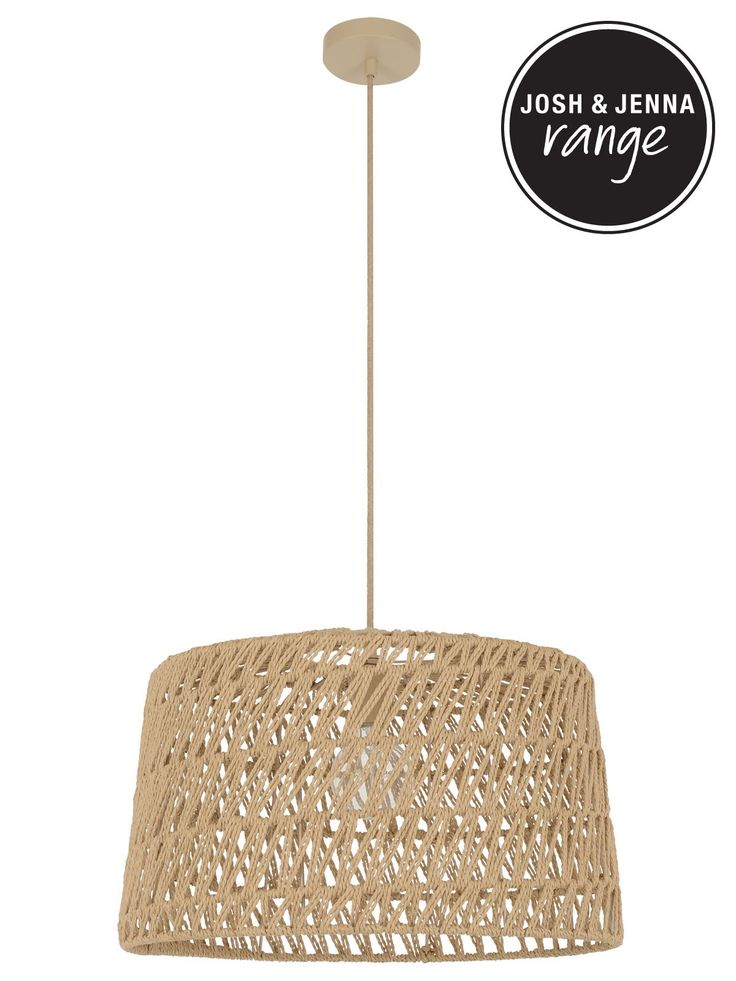 Byron 1 Light Large Pendant in Natural Weave
