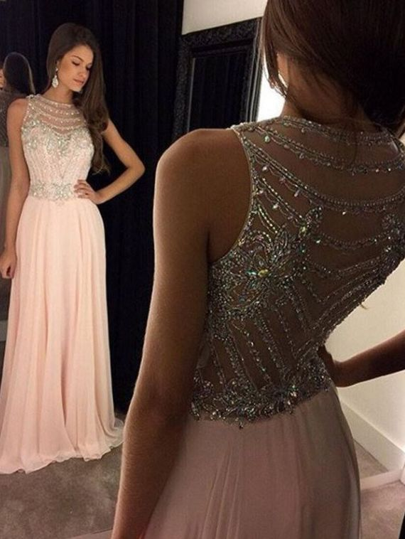 Long Prom Dresses,A-Line Scoop Prom Dress,Sleeveless Chiffon Pink Long Evening Dress With Crystal