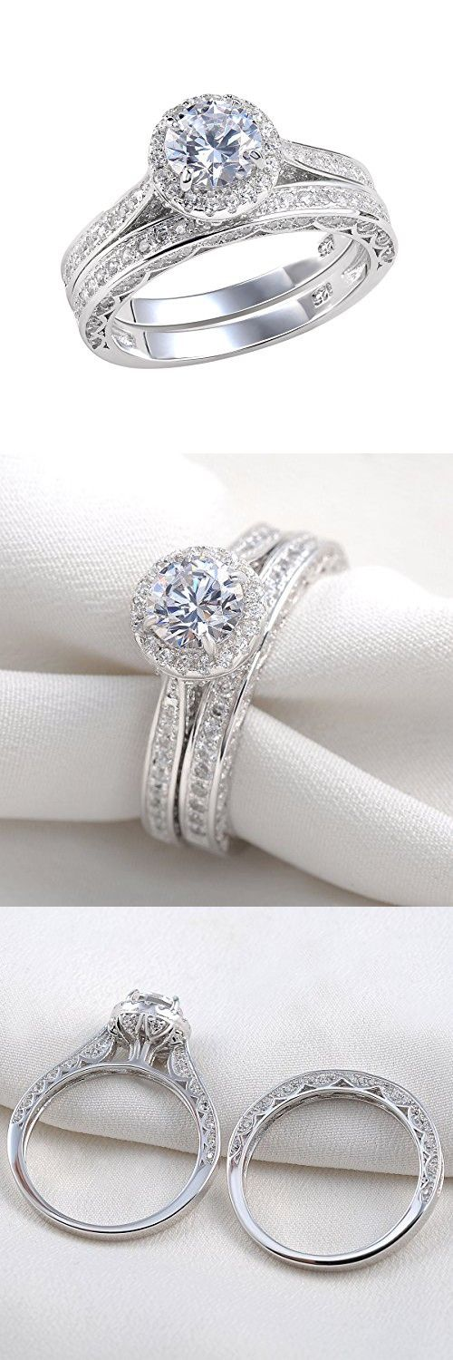 Newshe Jewellery Alice 2.4 Carat Round White CZ 925 Solid Sterling Silver Wedding Band Engagement Ring Set Size 9