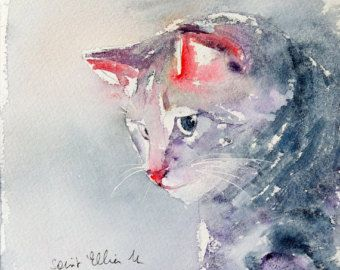 Original painting of a grey cat with a red nose -   pet watercolor - gift idea - decoration for bedroom - black friday