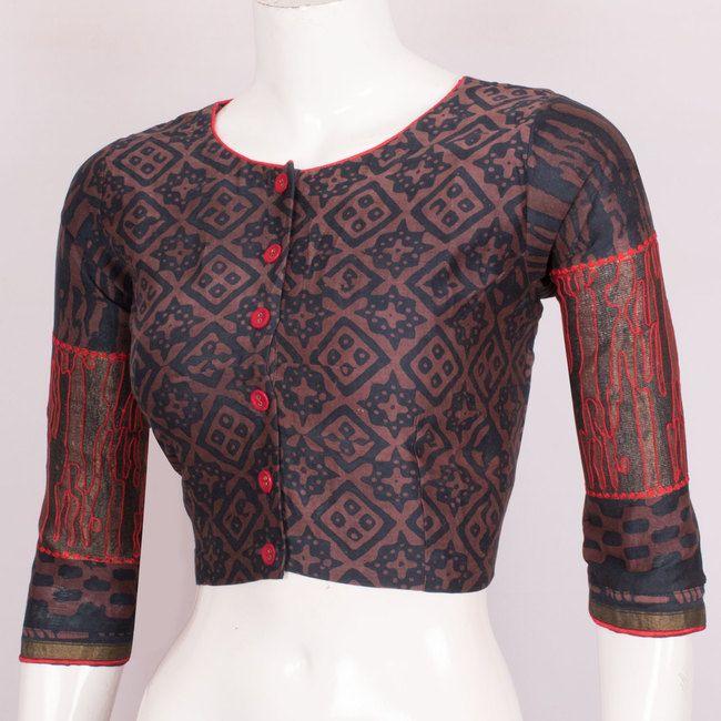 Batik Printed Silk Cotton Blouse With Full Sleeve 10018831 Size - 36 - AVISHYA.COM