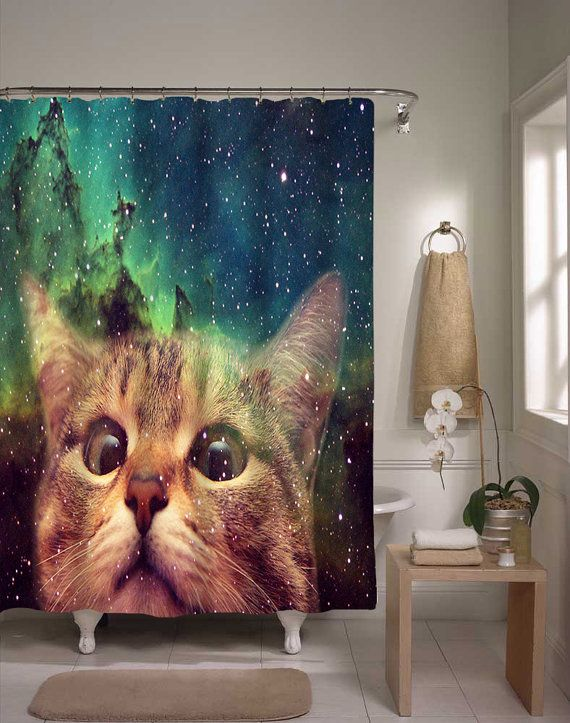 Epic space cat shower curtain cat in space home decor for Funny shower curtains