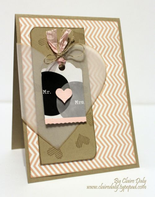 Handmade / DIY wedding card using Stampin Up Love Story Project Life Wedding Card by Claire Daly Stampin Up Melbourne Australia.