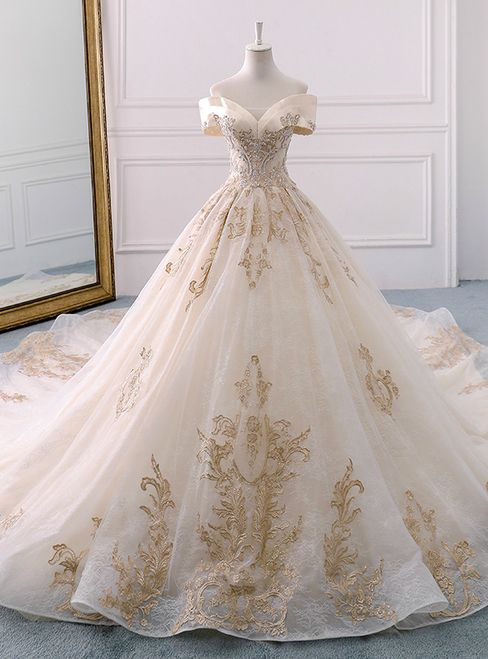 Champagne Tulle Gold Appliques Off The Shoulder Wedding Dress