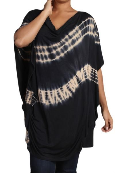 Womens PLUS SIZE Black & Taupe HAND DYED Tie Dye Cowl Neck Top – DestYni Boutique