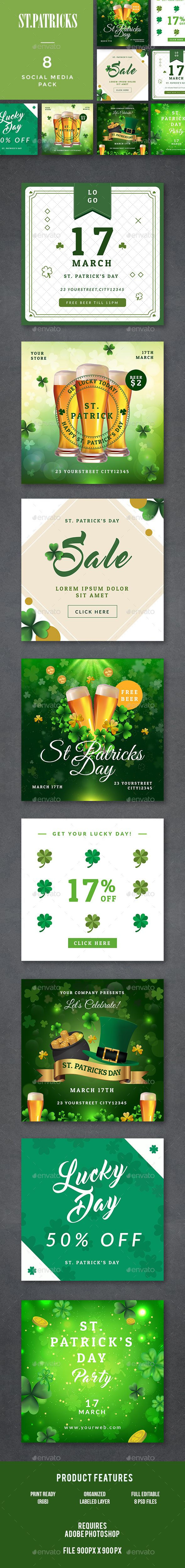 St. Patricks Day Banners Templates PSD 900x900px