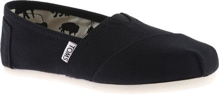 Womens TOMS Classic Alpargata Slip-On Shoe - Black Canvas - FREE Shipping & Exchanges