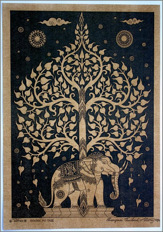 Thai traditional art of Bodhi tree by silkscreen printing on sepia paper.