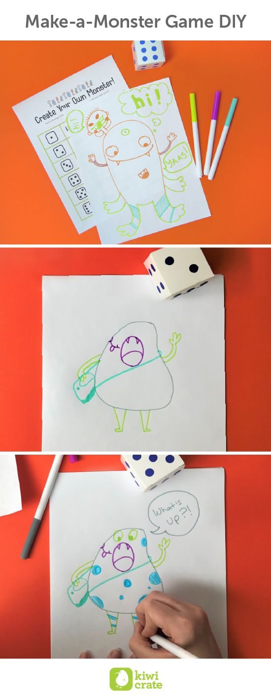 Make-a-Monster Game #DIY. Dr. Seuss's books encourage kids to color outside the lines, try new things, and explore creativity in unconventional ways.