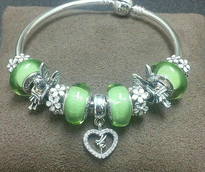 Tinkerbell Charm Bracelet: Tinkerbell Fascinating Murano's And White Dasiey Spacers W