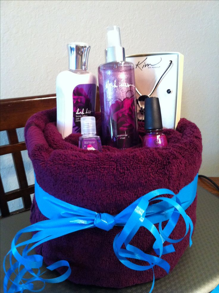 Thats actually not a bad idea. From Original Pinner.....DIY Towel Gift Basket Iggeally like this idea!!