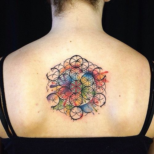 geometric flower tattoo color - photo #35