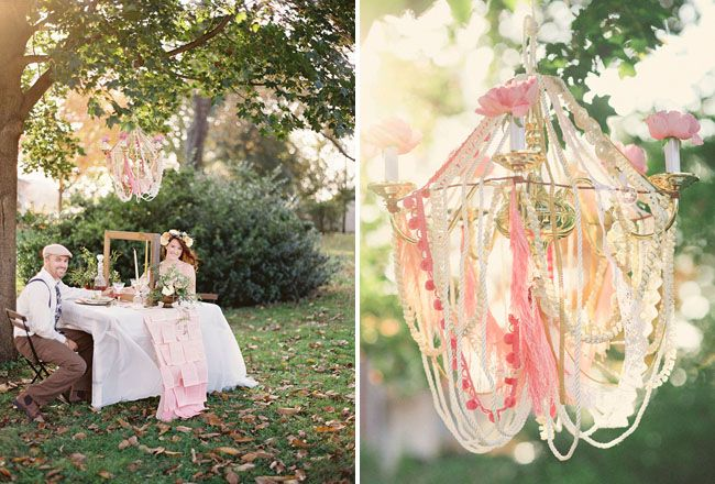 Whimsical Chandelier & Table Styling by Reverie Events  Photography:  Kay English Photography  http://kayenglishphotography.com  Florals & Styling:  Reverie Events  http://reveriemade.com  Gown:  Claire La Faye  http://clairelafaye.com  Swiss Dot Table Linen:  Gala Cloths  http://www.galacloths.com
