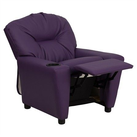 The Modern Kids' Purple Vinyl Recliner with Cup Holder will become your child's favorite perch!