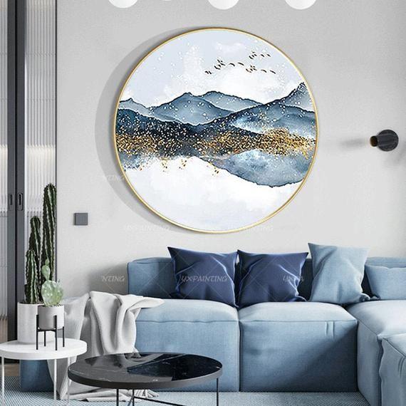 Original Mountain Cloud Acrylic Paintings On Canvas Framed Etsy Modern Wall Decor Decor Wall Decor