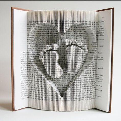 Book Folding Pattern Baby Feet in Heart. Includes cuts