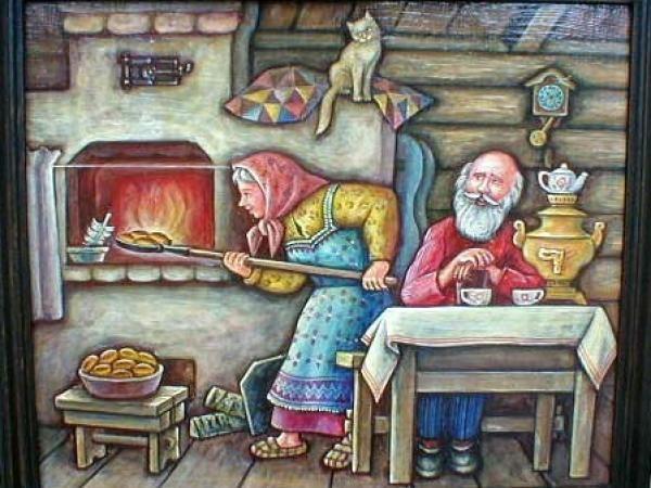Картинки дед и баба на печи