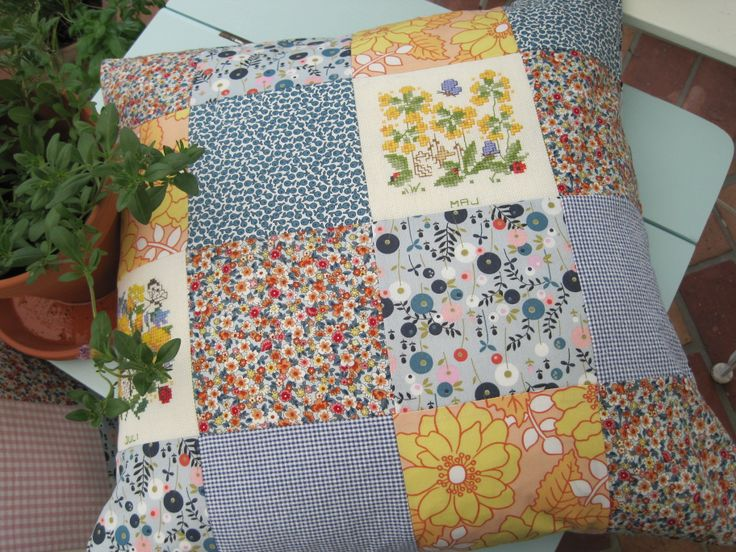 pillow for my summerhouse, yellow. recyckling