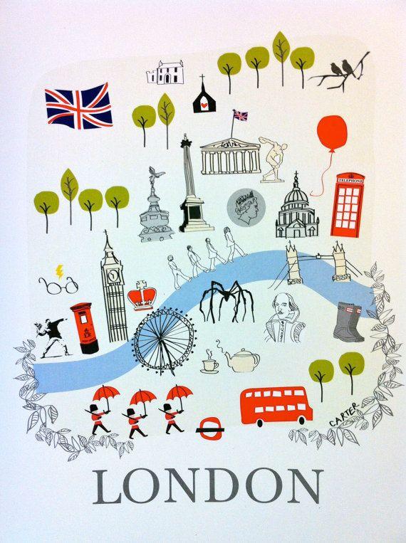 Illustrated London Map  8 x 10 art print by LoveLoveMeDoDesigns, $20.00
