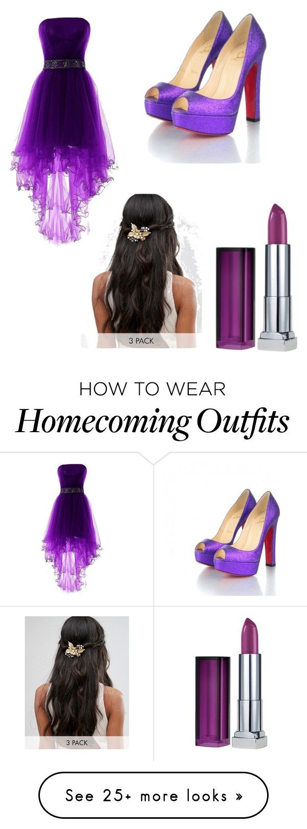"""let's be purple"" by abbi865 on Polyvore featuring Christian Louboutin, Maybelline and Her Curious Nature"