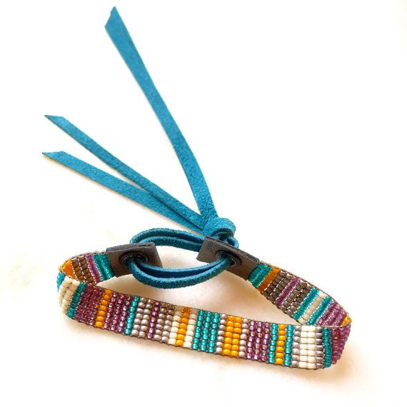 De Rayas Beadwoven Bracelet with Teal Leather by WhereTheMoonGoes, $35.00 Another awesome finishing technique!