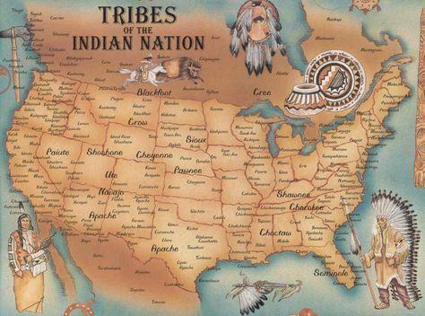 Map of Native American Tribes. Tribes of the Indian Nation: Blackfoot, Crow, Paiute, Shoshone, Cheyenne, Sioux, Cree, Pawnee, Ute, Navajo, Apache, Shawnee, Cherokee, Choctaw, Seminole... More