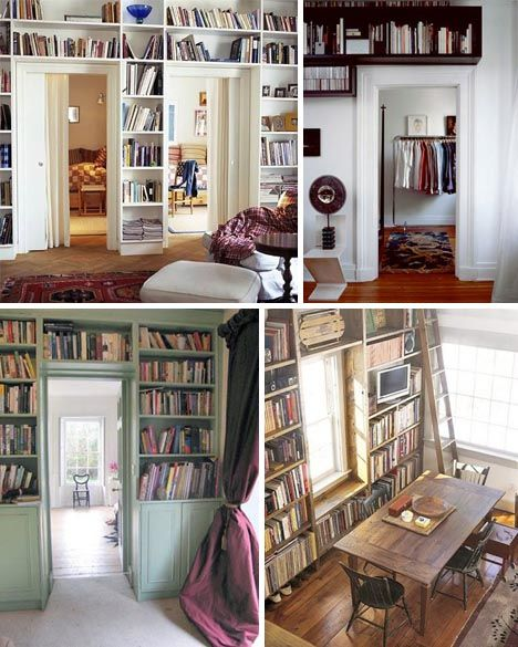 Obviously helps to have rooms with great light when you build bookshelves around doors & windows... but doesn't it look wonderful. I especially like the bottom two!