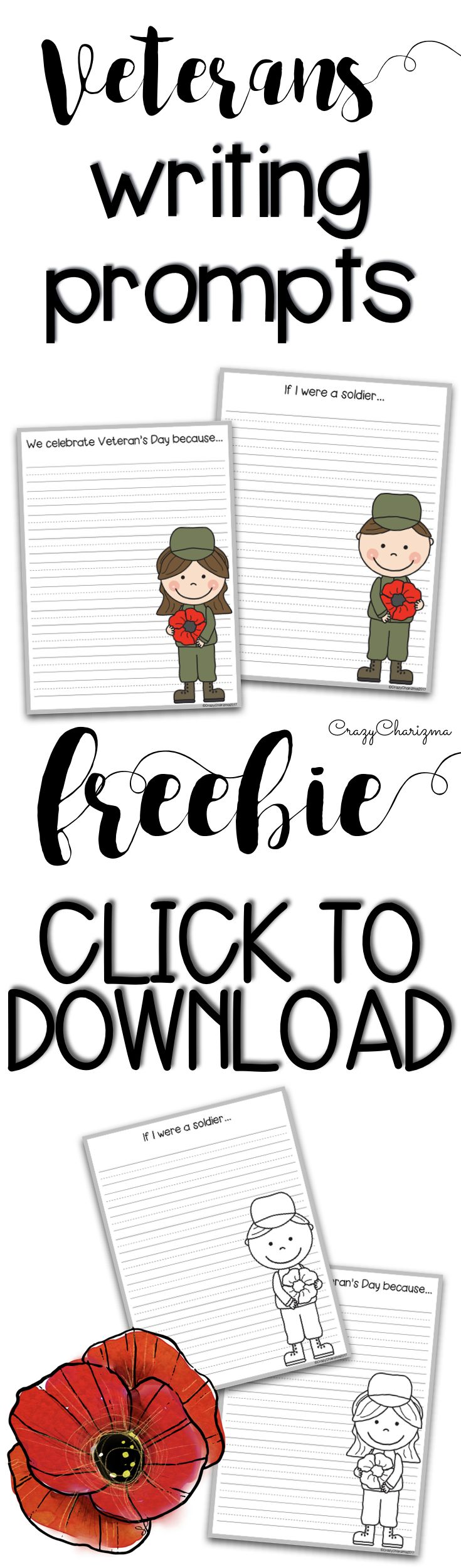 Free Veterans Day Writing Prompts for Kindergarten, first and second grade!