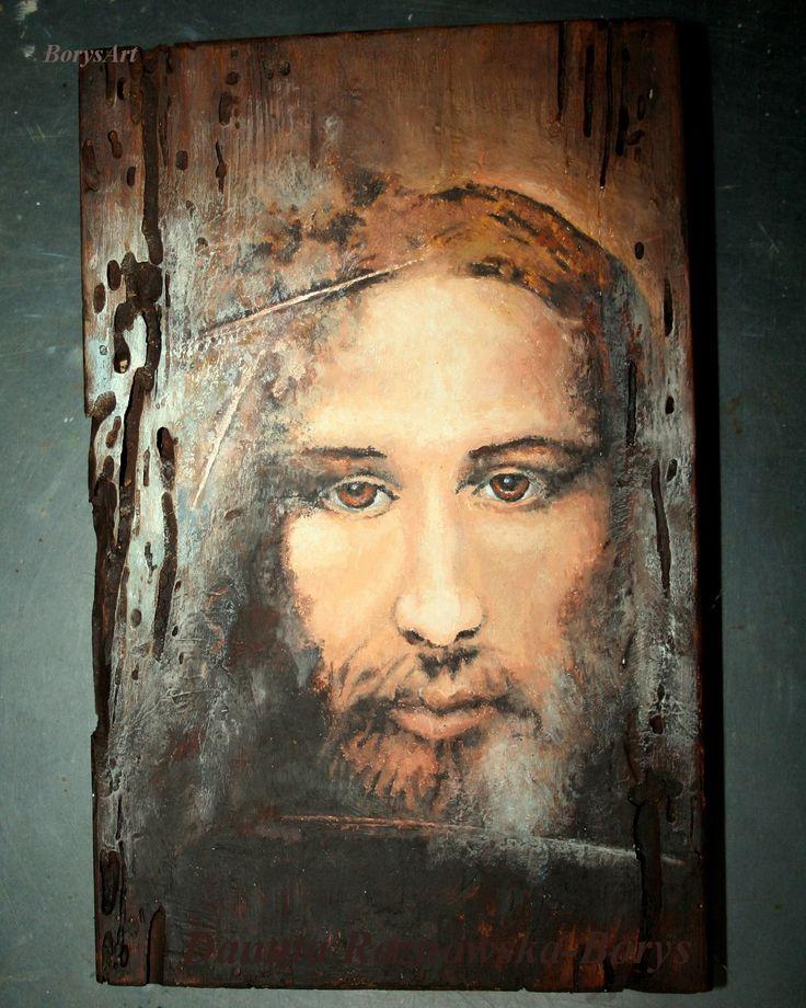Chrystus, malowany na starej desce Danuta Rożnowska-Borys  -BorysArt