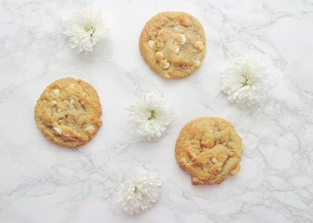 P.S. Never Stop Smiling: Cookies and flowers flat lay