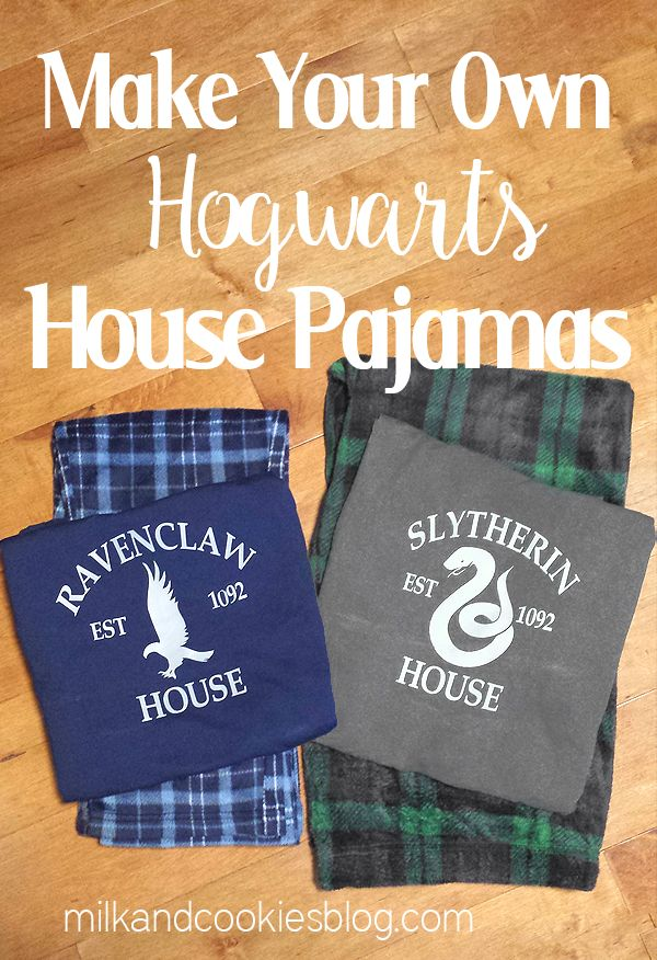 DIY Harry Potter Hogwarts House Pajamas using Silhouette Machine and Heat Transfer Vinyl (HTV)