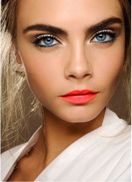Coral Lipstick #SS14SWIM #VivaLaFiesta #figleaves: Lipsticks, Make Up, Coral Lips, Eye Makeup, Delevingne Face, Blue Eye,  Lips Rouge, Bright Lips, Lips Colors